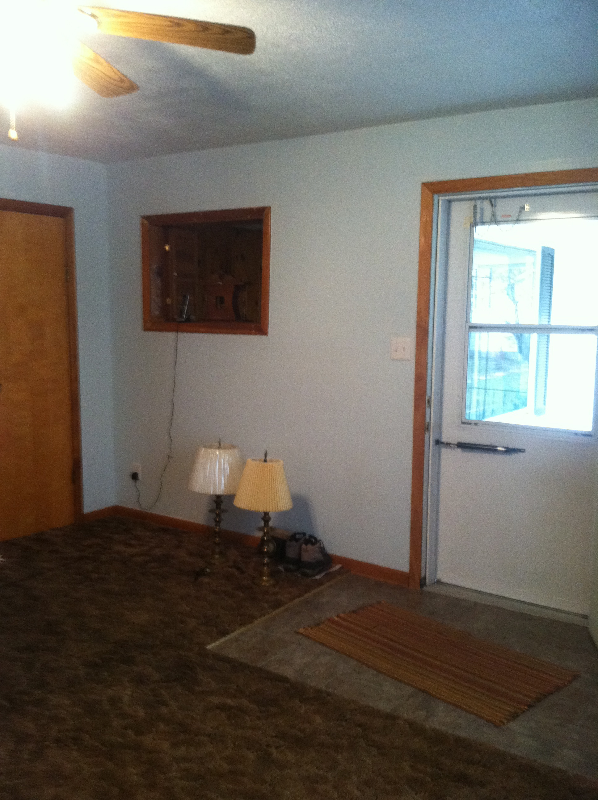 Transformation tuesday living room the glorious mundane Wood paneling transformation