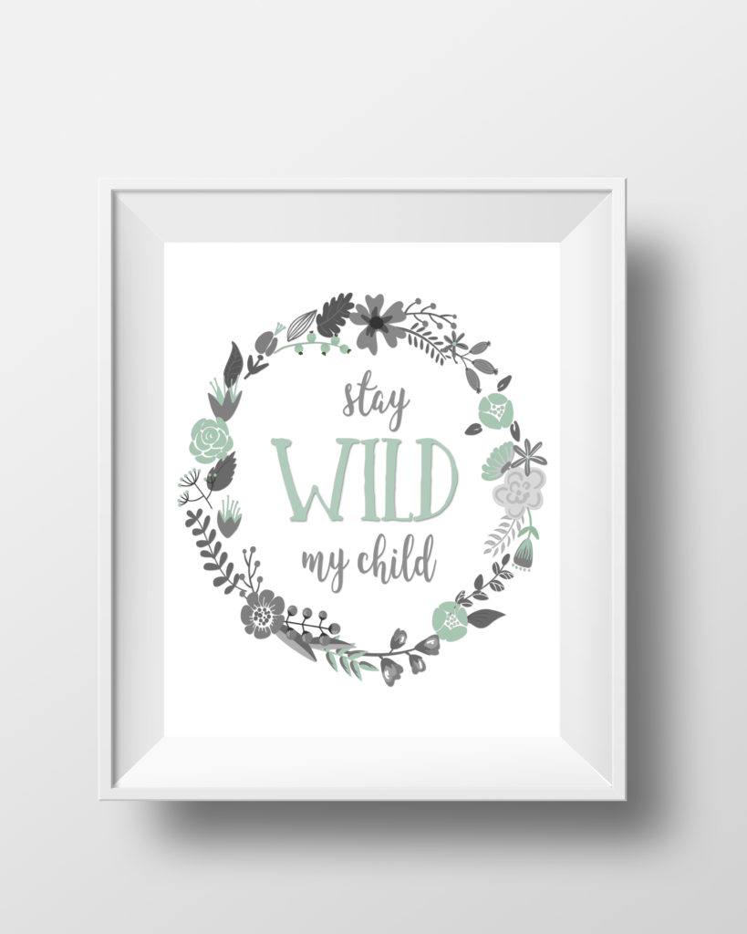 Stay Wild My Child Mint Mockup